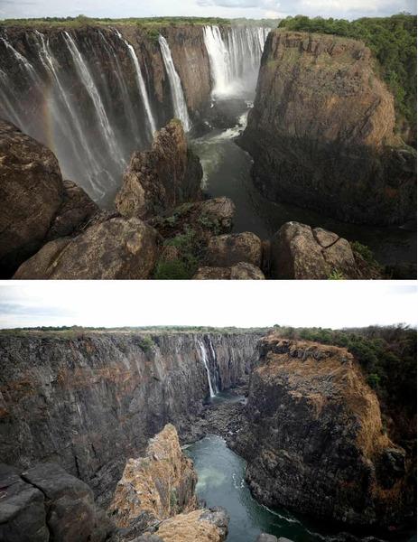 Водопад Виктория в обычный сезон и во время засухи