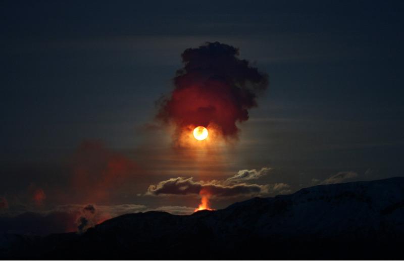 извержение вулкана в «Fimmvorduhals» (Исландия).