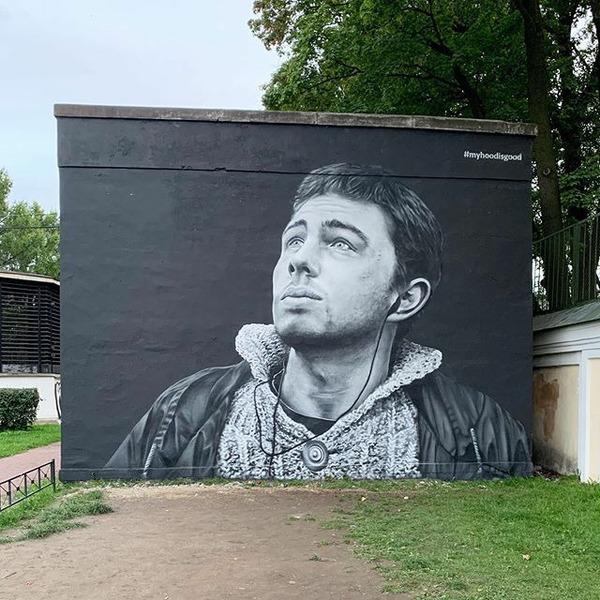 Художники HoodGraff восстановили граффити с Сергеем Бодровым