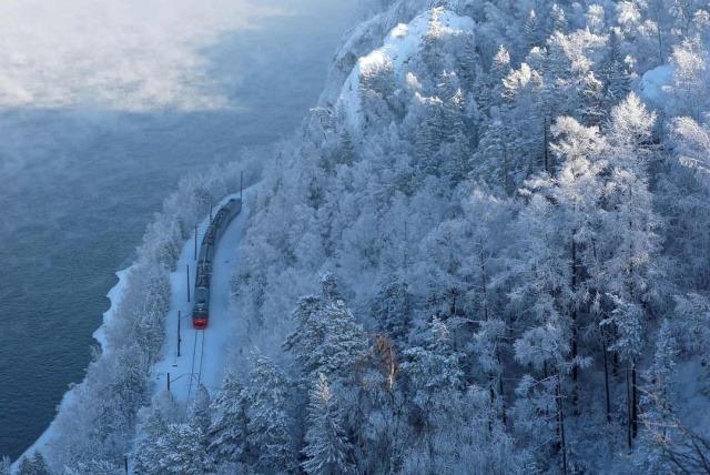 Поезд на фоне леса на берегу Енисея, Красноярск, Россия