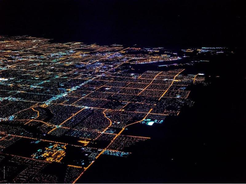 Ночной Лас-Вегас с высоты 3290 метров в аэрофотографиях