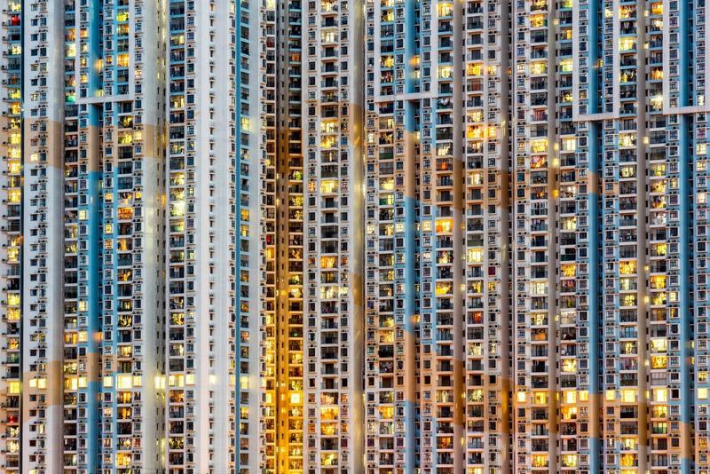 Высокоэтажки государственного жилищного района в Макао, Китай. Автономная область с южного побережья Китая раньше была колонией португальцев до 1999 года а теперь является курортным городом