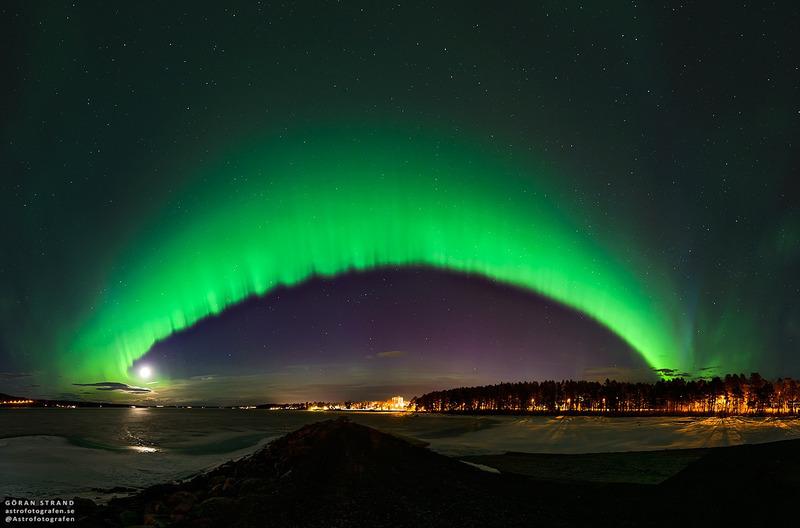 Дуга полярного сияния над Швецией