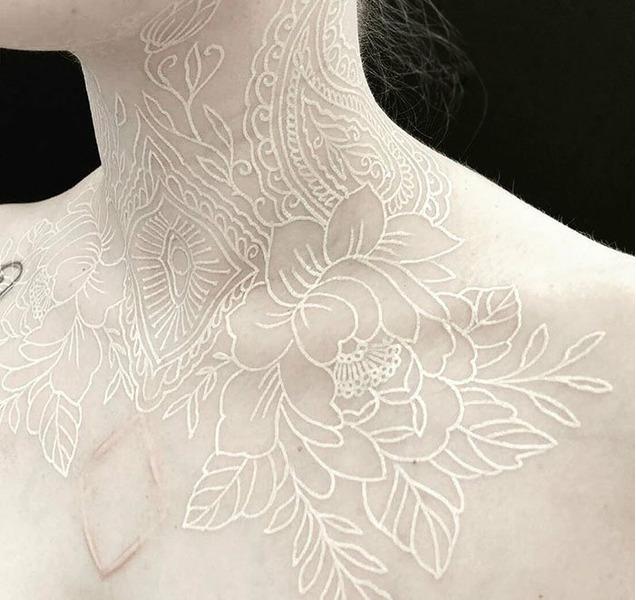 Татуировки из белых чернил