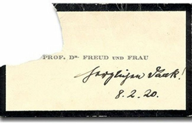 Визитная карточка Зигмунда Фрейда