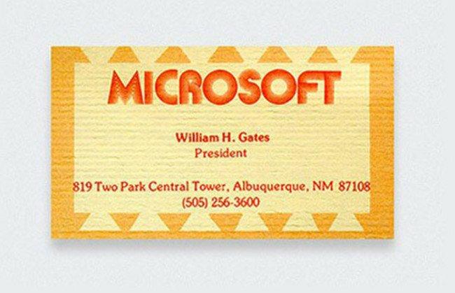 Визитная карточка Билла Гейтса