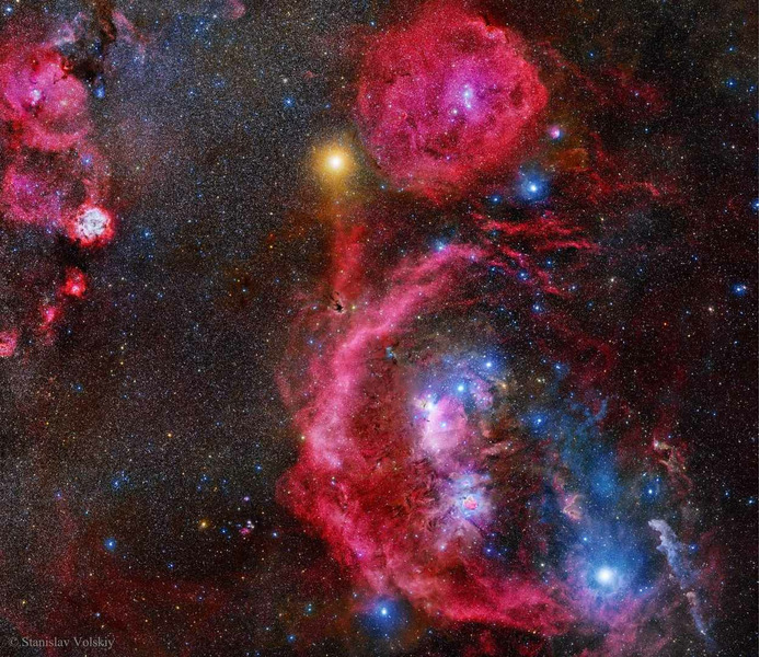 Созвездие Ориона с выдержкой 212 часов