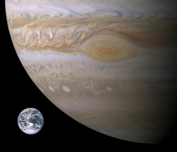 Размер Земли и Юпитера