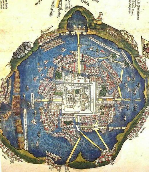 Карта города Теночтитлан, 1524 год.