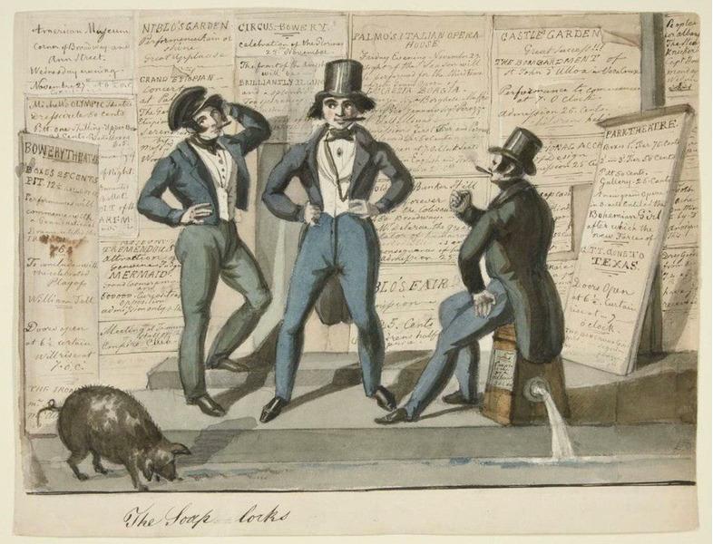 На известном рисунке Николино Калио (1840-е годы), изображены трое членов знаменитой банды Бауэри-Бойз и не менее знаменитая нью-йоркская свинья в поисках мусора.