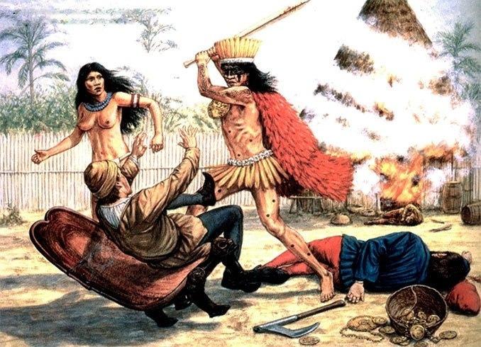 Вождь индейцев-каонабо убивает людей Колумба, Ла-Нативидад, 1493 г.