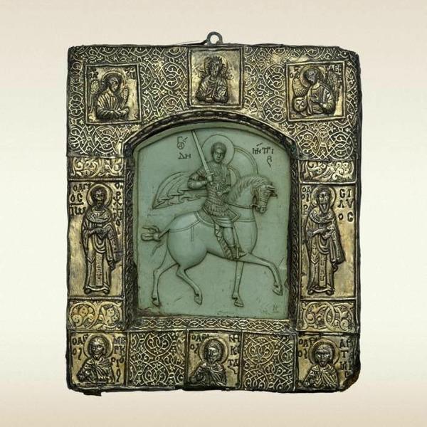 Великомученик Димитрий Солунский. Резная икона в окладе.