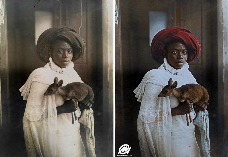 Молодая кенийка держит ручного оленя, Момбаса, 1909 год