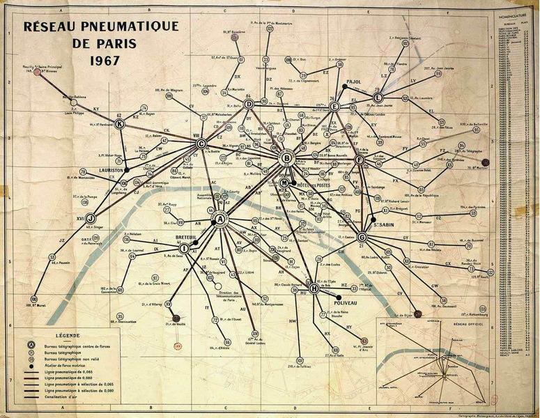 Карта сети пневматической почты Парижа