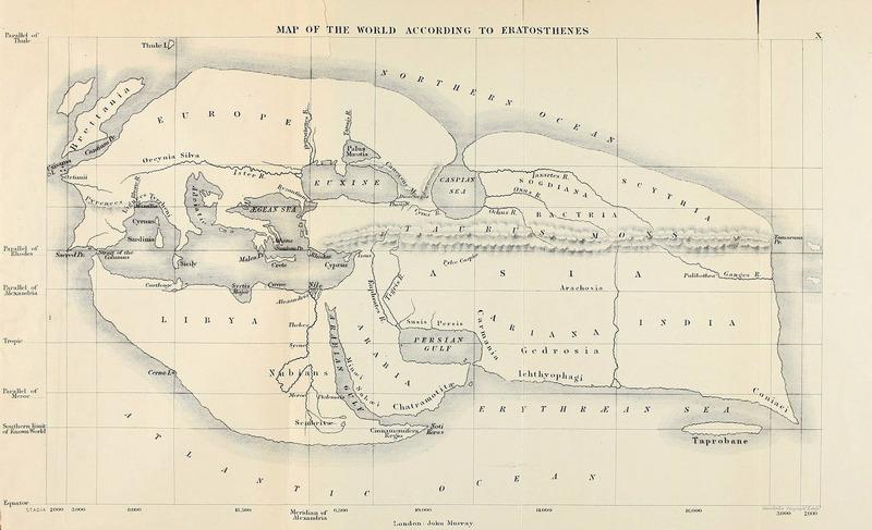 Карта мира по Эратосфену (около 194 года до н. э.). Реконструкция XIX века