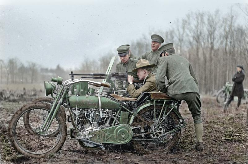 Мотоцикл Harley-Davidson с пулемётом, Первая мировая война.