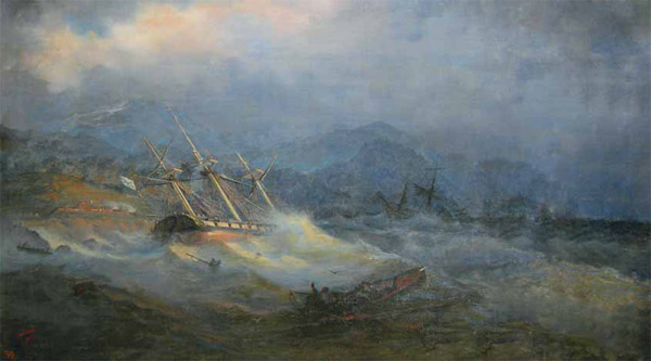 Крушение русской эскадры на Абхазском берегу у реки Соча 30 мая 1838 г. Картина Каменева.
