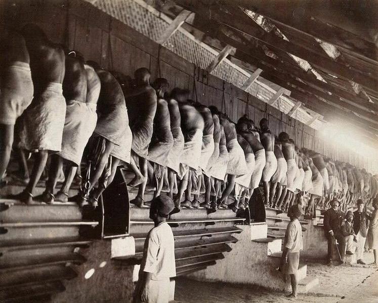 Прикованные наручниками заключенные вращают ногами валы мельниц в тюрьме Янгуна (Мьянма). 1900 г.