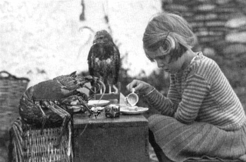 Чаепитие девочки с лобстером и ястребом, 1938 год.