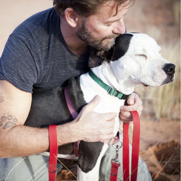 мужчина  собакой
