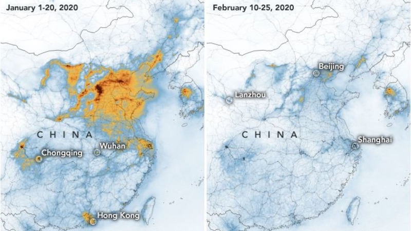 В Китае из-за вспышки коронавируса улучшилась ситуация с экологией.