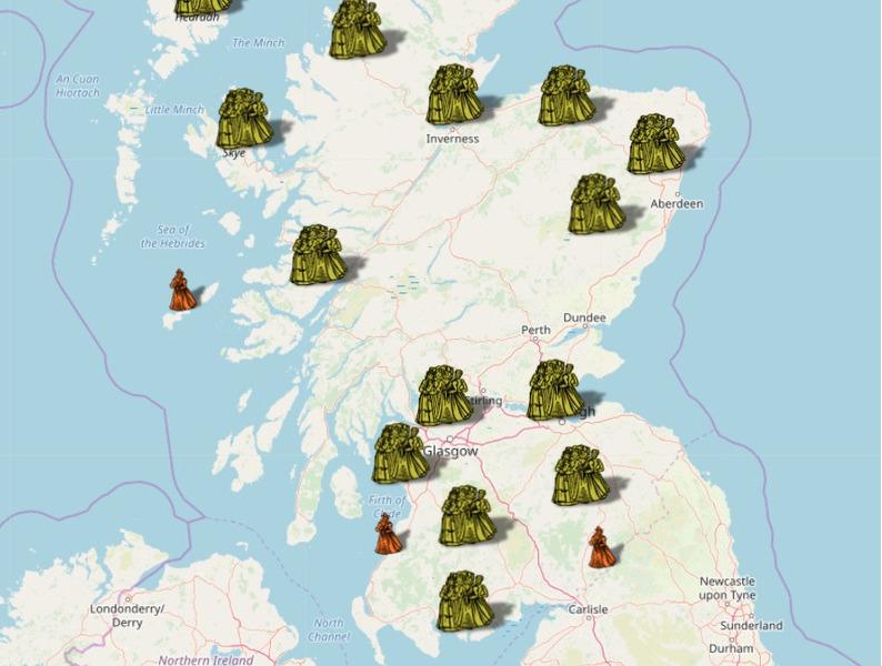Карта ведьм Шотландии