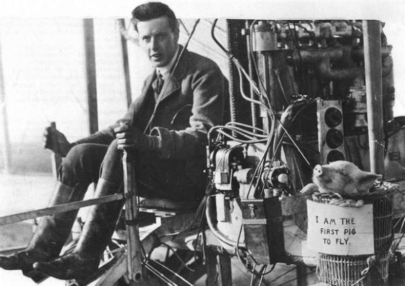 Первый летающий поросёнок в мире, 1909 год.
